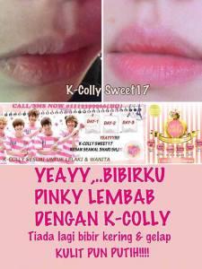 k colly sweet 17 berkesan melembapkan bibir dan bibir nampak segar dan pink