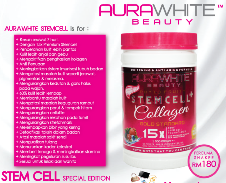 aurawhite stem cell collagen original kelantan