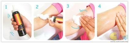cara guna opa snow slimming foam dengan betul